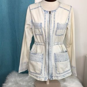 Acid washed light weight jacket cream Blue small